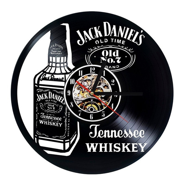 top popular Jack Daniels Whiskey Vinyl Wall Clock Modern Home Decor Fashion Room Decoration Wall Art Clock (Size: 12 inches, Color: black) 2019