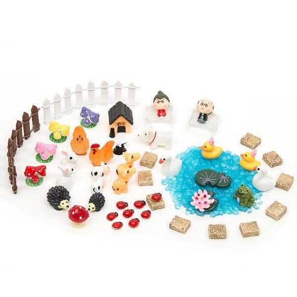 51pcs Diy Miniatures Garden Terrarium Figurines Ornaments Dollhouse Bonsai Micro Landscape Decor For Miniatures Fairy Garden
