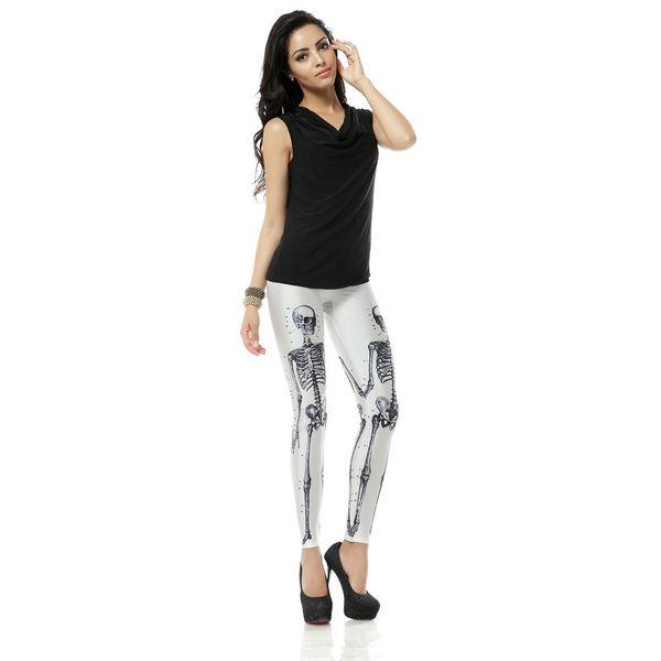 Wholesale Free Shipping Hot Style Sexy Legging Bone Skeleton Skull 3d Digital Printed Legins Women Slim Fit Leggings Pant