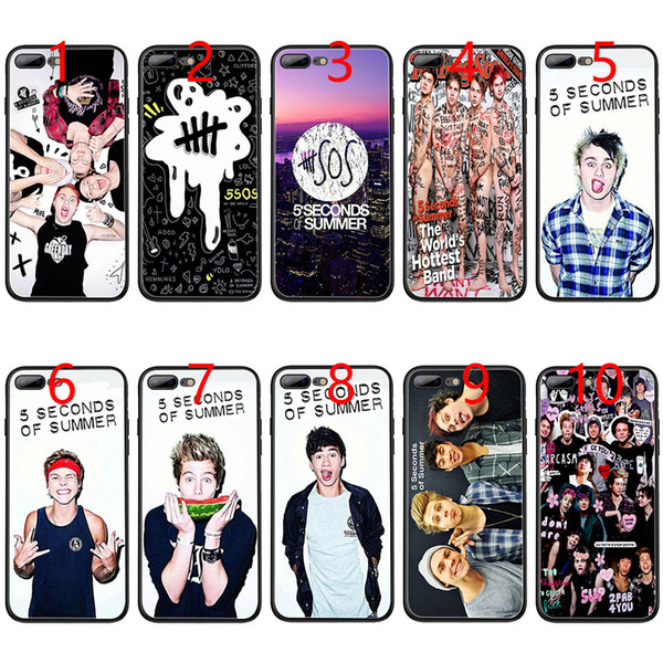 5 Seconds of Summer SOS Soft Black TPU Phone Case for iPhone XS Max XR 6 6s 7 8 Plus 5 5s SE Cover