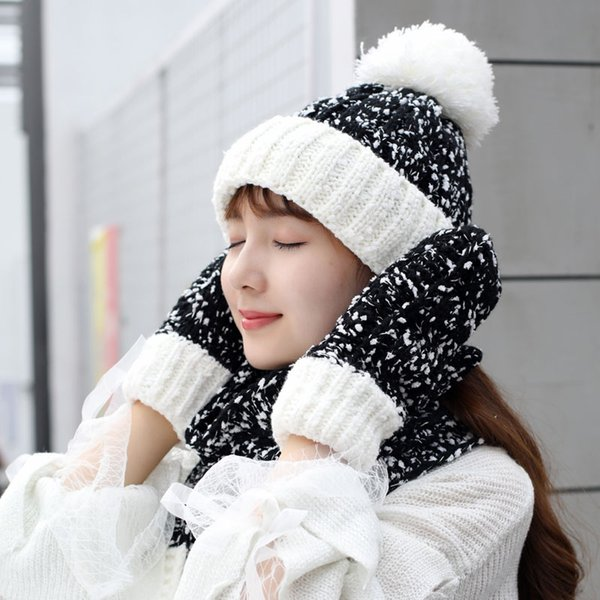 hat and scarf set hat and scarf women's knitted for women & Glove Sets