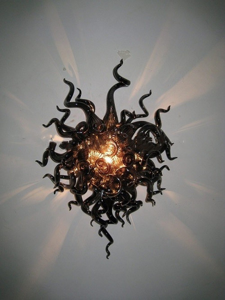 Hand Blown Glass Wall Sconce Murano Glass Black Crystal Wall Lamps with LED Bulbs Custom Color and Size