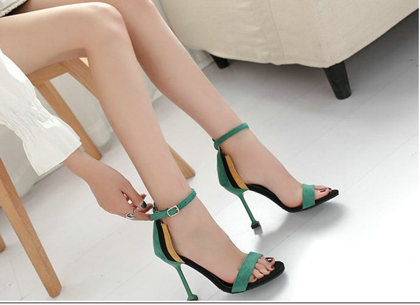 2018 hot sale sandals female summer sexy open toe stiletto women's shoes color matching word buckle fashion ladies high heels elegant