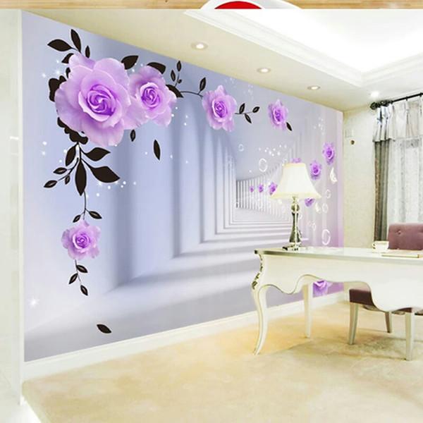 Özel 3D Fotoğraf Kağıdı Avrupa 3D Stereo Mor Güller Büyük Duvar Oturma Odası Yatak Odası TV Arka Plan Duvar Boyama Duvar Kağıdı