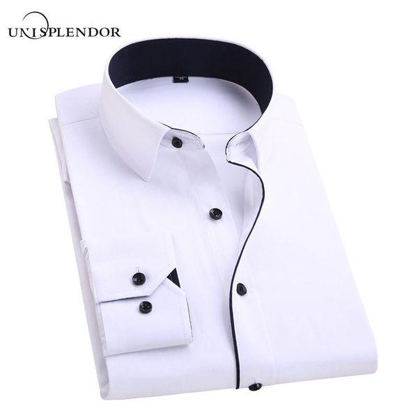 best selling 2018 Men's Wedding Shirt Long Sleeve Men Dress Shirt Business Solid Color Casual Shirts Work Wear Shirt Man YN554