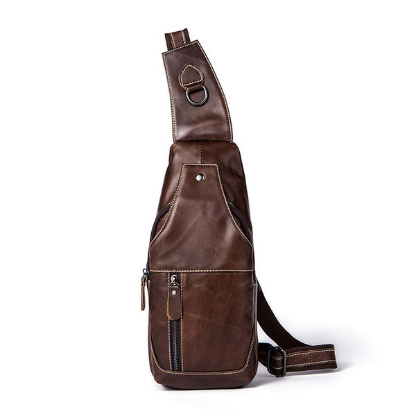 Men Classical Crazy Horse Genuine Leather Chest Bag Cycling Bag