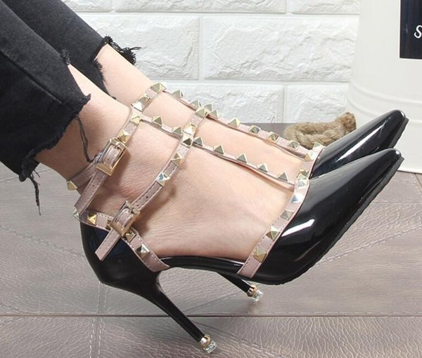 Décolleté rivetti sexy Hasp Décolleté con tacco alto in pelle Donna Tacco a spillo 9 cm Scarpa a punta cava Scarpe donna Scarpe rivetti