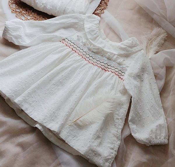 Mädchen floral stickerei kleid shirt herbst neue kinder falbala revers langarm kleid kinder baumwolle rüschen prinzessin tops weiß f0224