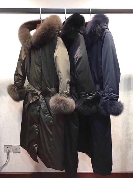 2018 Marque Designer Vêtements Pour Femmes Noble Dame Longs Manteaux Big Fur Fox Manteau Manteau D'hiver Noir Vert Blanc