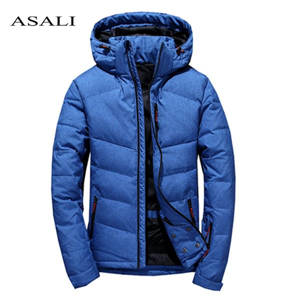 Winter Men Parkas Warm Down Jacket Male Casual Slim Fit Hooded Hat Detachable Coat Mens Clothes 2018 New Grey Blue Black Outwear