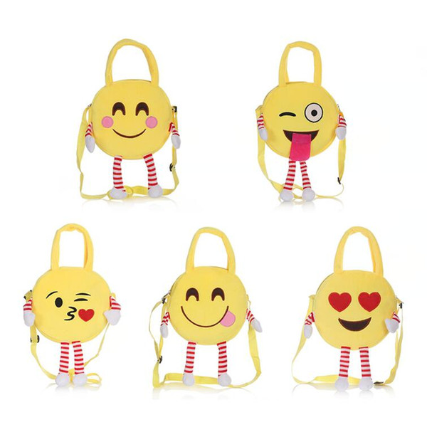 Cute Emoji Kids Plush Backpacks Toy Mini School Bag Children's Gifts Kindergarten Boy Girl Baby Student Bags Lovely Mochila 5Styles OOA4496