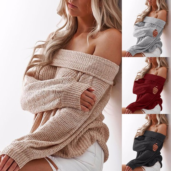 Umeko Frauen Pullover aus Schulter Slash Neck Plus Größe 5xl beiläufige lose gestrickte übergroße Pullover Pullover Herbst Pull Femme