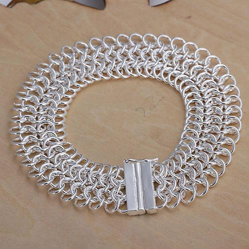 Fine 925 Sterling Silver Bracelet,XMAS New Style 925 Silver Chain Net Bracelet For Women Men Fashion Jewelry Gift Link Italy Percing H005