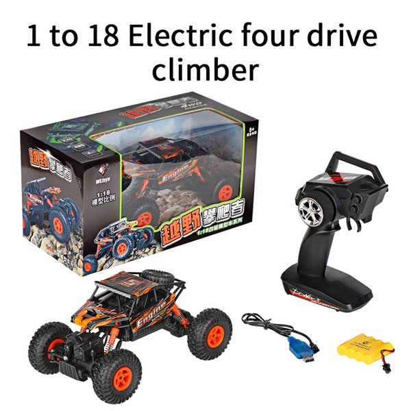 1/18 2.4G 4WD Electric RTR Off-Road Rock Crawler Climbing RC Car Remote Control Car High Speed Vehicle Orange Color