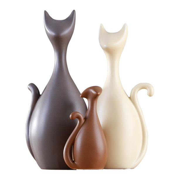 Europe Ceramics Cat Figurines Animal Deer Model Ornament Miniatures Christmas gift for home wedding decoration crafts gifts