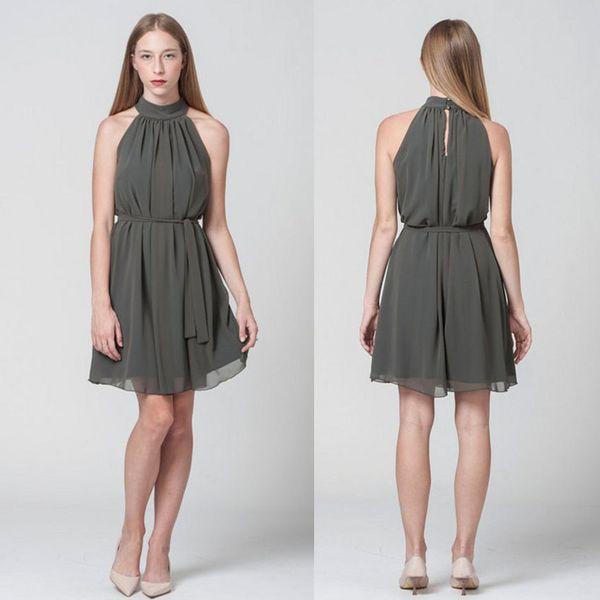 Dark Gray Short Prom Dresses 2018 Fashion High Neck Chiffon Pleats Aline Short Party Dresses Custom Made