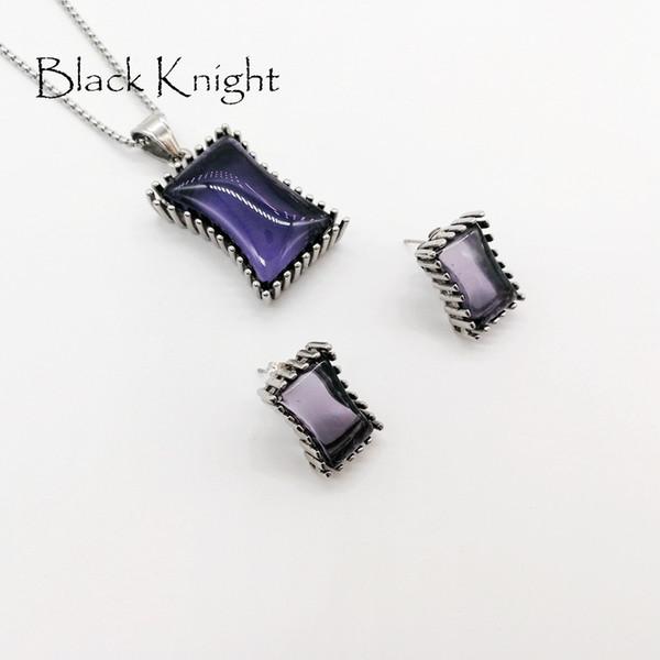 2018 S / S Nouvelle arrivée Big Blue Purple Black carrés pierres collier boucles d'oreilles ensemble de bijoux En acier inoxydable CZ bijoux en pierre BLKN0635