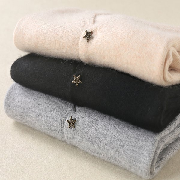 Women Cardigan Cashmere Knitting Outwear Casual V neck Star Button Soft Knitwear Sweater Basic Standard Tops Female Cardigans