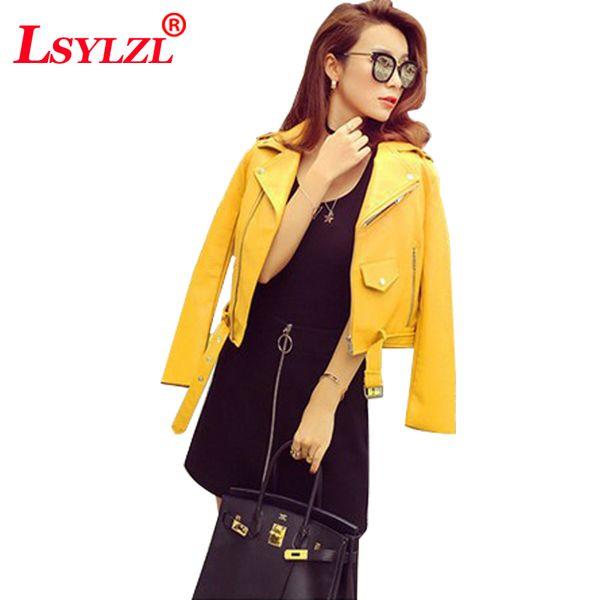 Curto Casaco fino Ocasional PU Mulheres 2018 Novo Clássico Zipper Curto Motocicleta Casacos Senhora Outono Moda Macia Venda Quente Casaco B559