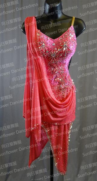 Rumba Jive Chacha Ballroom Latin Dance Dress Girls Women, Competencia Vestido de baile latino, falda salsa estilos