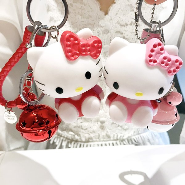 2018 new cartoon enamel sitting position cat key chain lovely bell leather rope key chain bag pendant