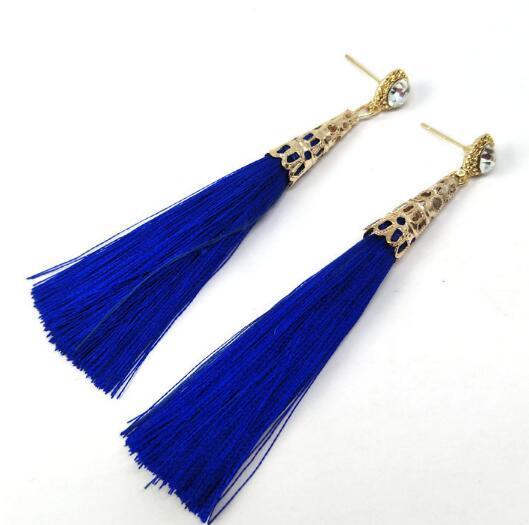Hot Style Bohemian tassel handmade earrings simple rhinestones long earrings pendants handmade earrings stylish classic exquisite