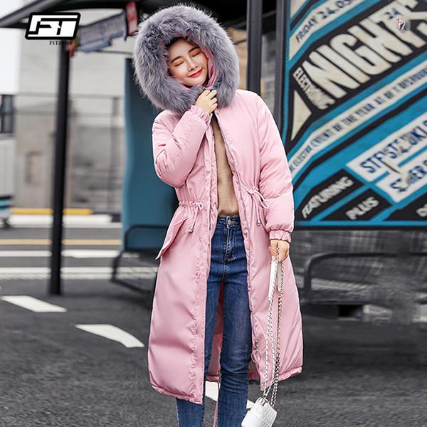 Großhandel Fitaylor Winter Frauen Warm Kapuze Lange Baumwolle Parkas Schnee Große Pelzkragen Jacken Mantel Weibliche Dicke Sash Binden Baumwolle