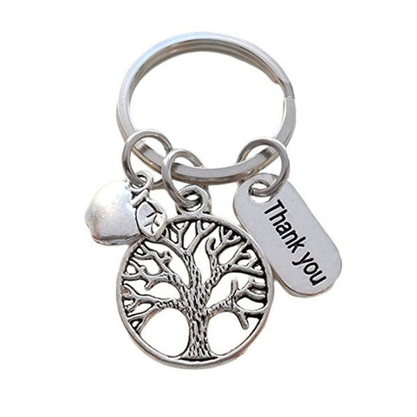 wholesale 10pcs/lot Thank you key chain life tree apple charm pendant key ring for teacher jewelry gift