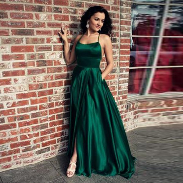 LORIE New Fashion Emerald Green Evening Dress A-Line Sexy Backless satin Floor Lenght Long Prom Dress for Graduation Party Gown