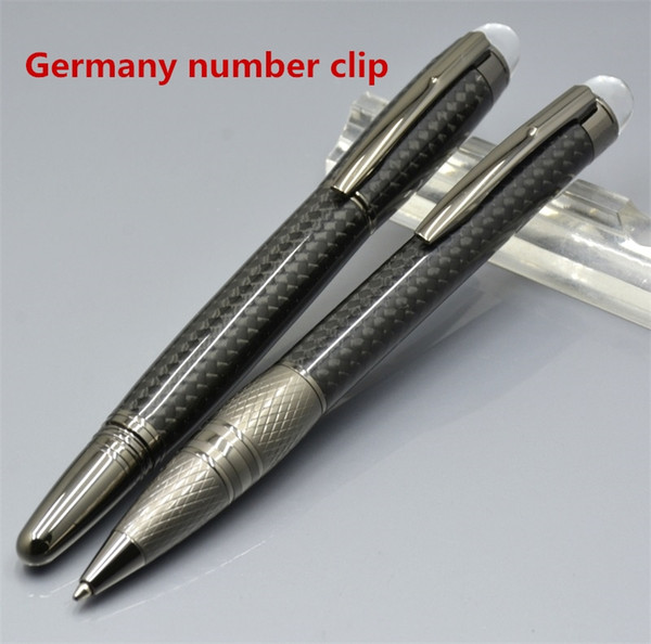 Top High quality Black carbon fiber Roller ball pen with stationery office supplies Monte brand writing ballpoint pen in Germany number clip