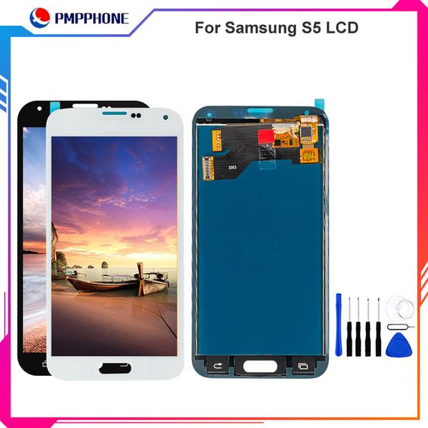 Per Samsung Galaxy S5 i9600 G900F G900H G900M G900M G900 con Frame Bianco Nero Touch Screen Display LCD Digitizer Sostituzione spedizione gratuita