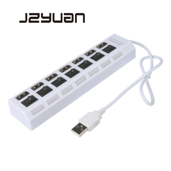 JZYuan 4/7 Ports High Speed USB Hub 2.0 480Mbps Hub On/Off Switch Portable USB Splitter Peripherals Accessories For Computer