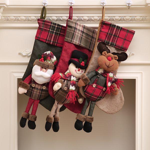 Victorian Christmas Stockings.Wholesale Christmas Gift Socks Creative Candy Santa Clause Socks Christmas Stockings Hanging Plaid Burlap Bag Factory Supply Unusual Christmas