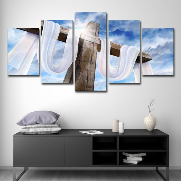 Canvas Pictures For Living Room Decor HD Prints Posters Wall Art 5 Pieces Jesus Christ On The Cross Blue Sky Paintings