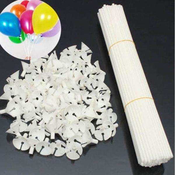 100 Adet / grup beyaz 32 cm Balon Çubuk Kutup Plastik Çubuklar Tutucu Kupası Doğum Günü Partisi noel Düğün Balonlar Dekorasyon Aksesuar ...
