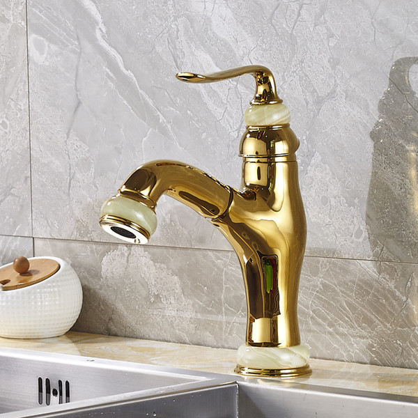 Wholesale and Retail Kitchen Sink Faucet Solid Brass Pull Out Swivel Spout Mixer Tap Gold Color