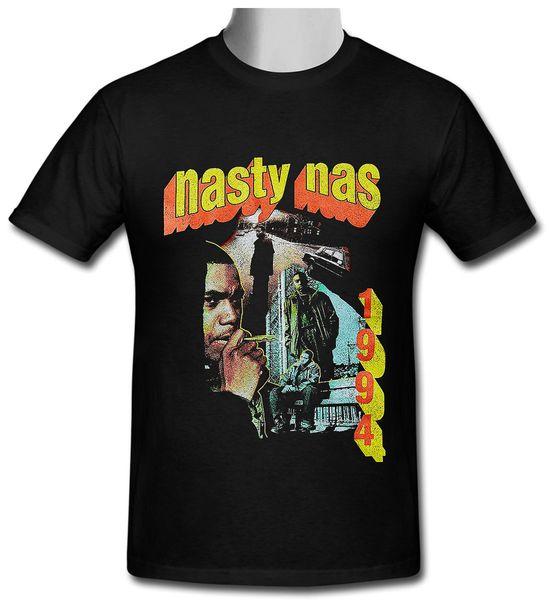Nasty Nas Vintage retrò hip hop nero T-shirt taglia S a 2XL Mens 2018 moda Brand 100% cotone stampato Girocollo T-shirt economici