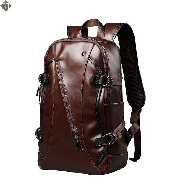 New Retro men backpacks Crazy horse Leather 14-inch computer backpack bag Students school bag color Brown 45*26*10cm