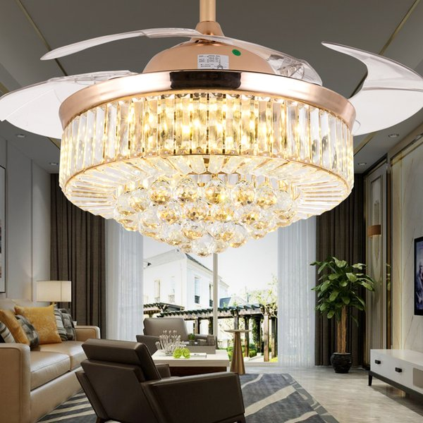 best selling 52 inch Gold Modern LED Crystal Ceiling Fans With Lights Living Room Folding Ceiling Light Fan Crystal Lamp Remote Control
