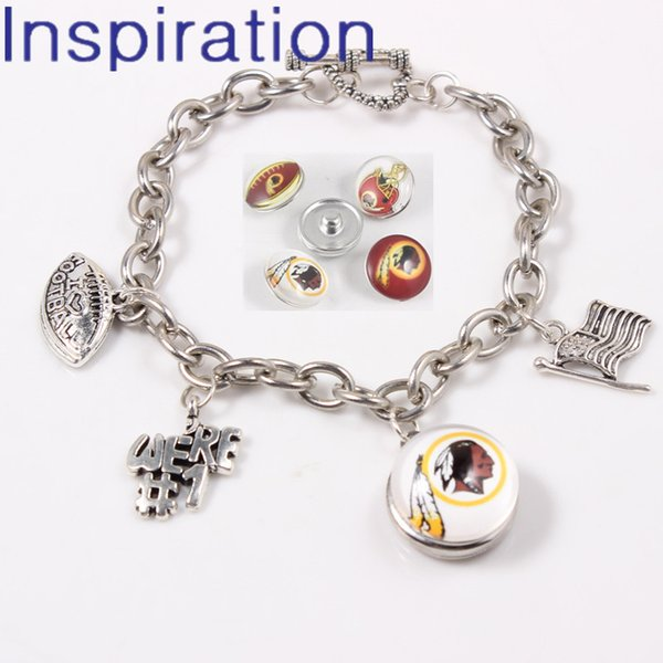 USA Football Team Washington Redskins Snap Button Jewelry Link Chain Bracelet With OT Heart Clasp Dangle Charm For Sport Fans