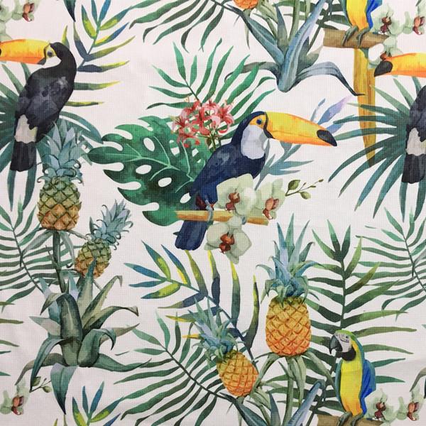 Rainforest Summer Parrot Digital Print Ramphasto Chair Upholstery Sofa Armchair Velvet Fabric Decorative Pillow Case Cloth 140cm wide