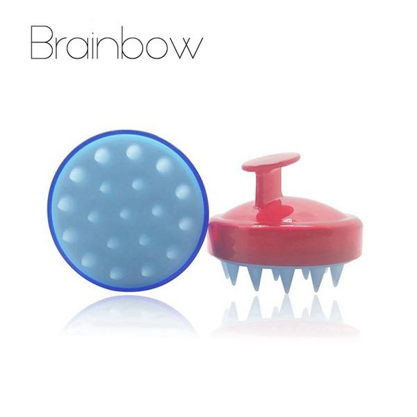 Brainbow 1 pieza Cabeza de silicona Peine para el cabello Champú Cuero cabelludo Cepillo suave para masajes Lavado del cabello Peine Corporal Baño Masajeador Belleza Spa Herramientas