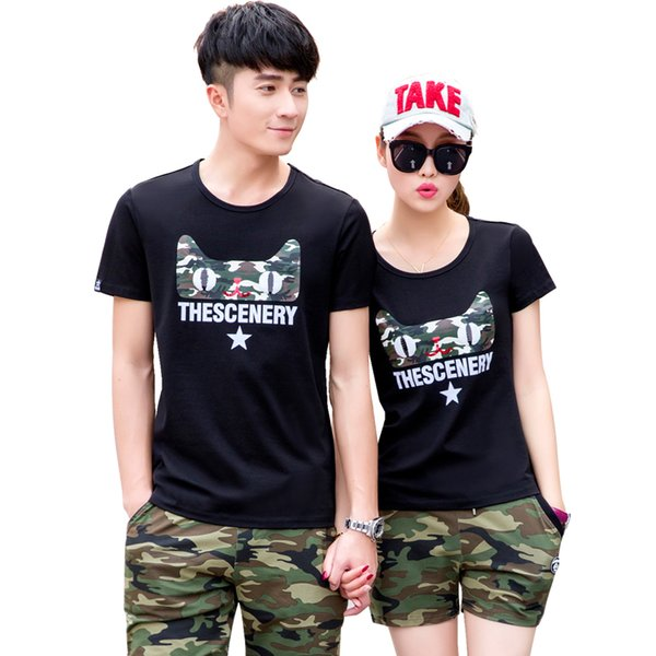 Summer Couple Two Piece Sets Short Sleeve Cat Print T Shirt Camouflage Short Pants For Men Short Sportswear Casual Street Clothes Boy Outfit