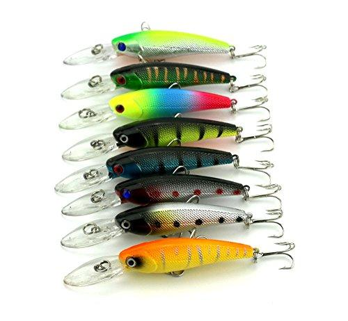 "LENPABY 8 pcs Deep Diving Minnow Fishing Lures Crankbaits Kit for Bass and Trout Fishing Tackle 9cm/3.54""/8.3g"