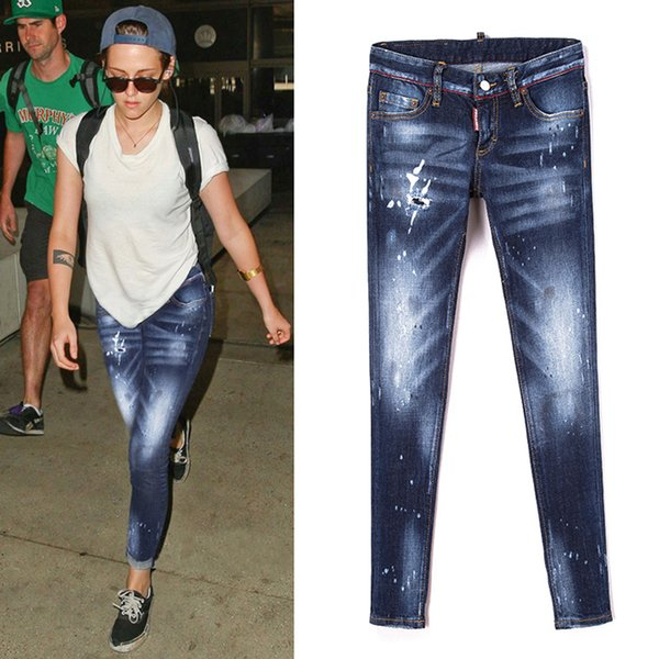 Mulheres Sexy Jeans Skinny Fit Afligido Pintura Montagem Hip Efeito Whisker Fading Vintage Cool Girl