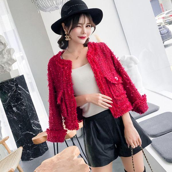 mujer rojo borlas de seda brillante chaqueta de lana escudo 2018 mujer  vintage femme abrigo de 6f645ecad95f