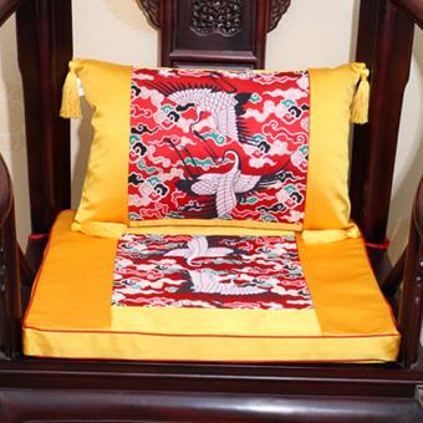 Beige with red crane