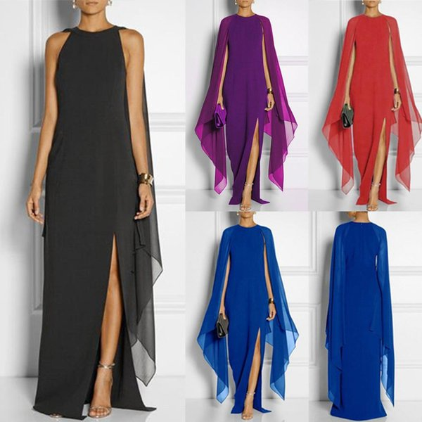 New Women Maxi Dresses Sexy Party Queen Split Dresses Club Batwing Sleeve Ruffle Elegant Evening Gown Women Chiffon Autumn Plus Size Dress