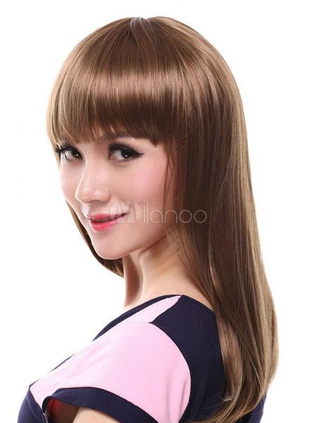 FIX425 Yeni seksi kadın uzun açık kahverengi kadınlar için sağlık dalgalı Saç peruk peruk