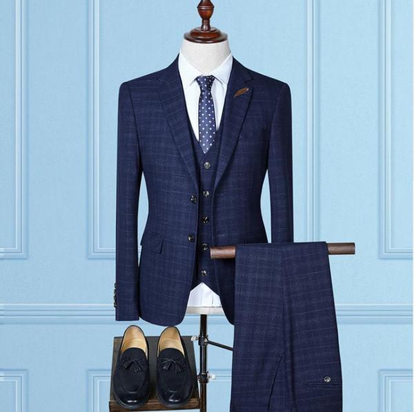 (Jacket+Vest+Pants)2018 autumn fashion causal woolen grid men's suis wedding dress suit men men's business suits full size S-4XL